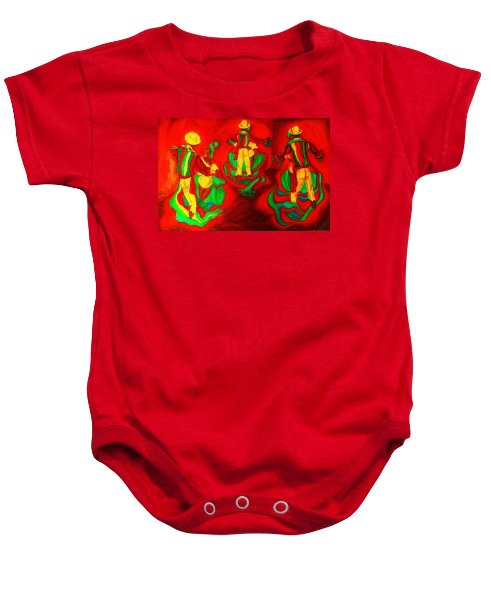 Africa Baby Onesie featuring the painting African Dancers by Carole Spandau