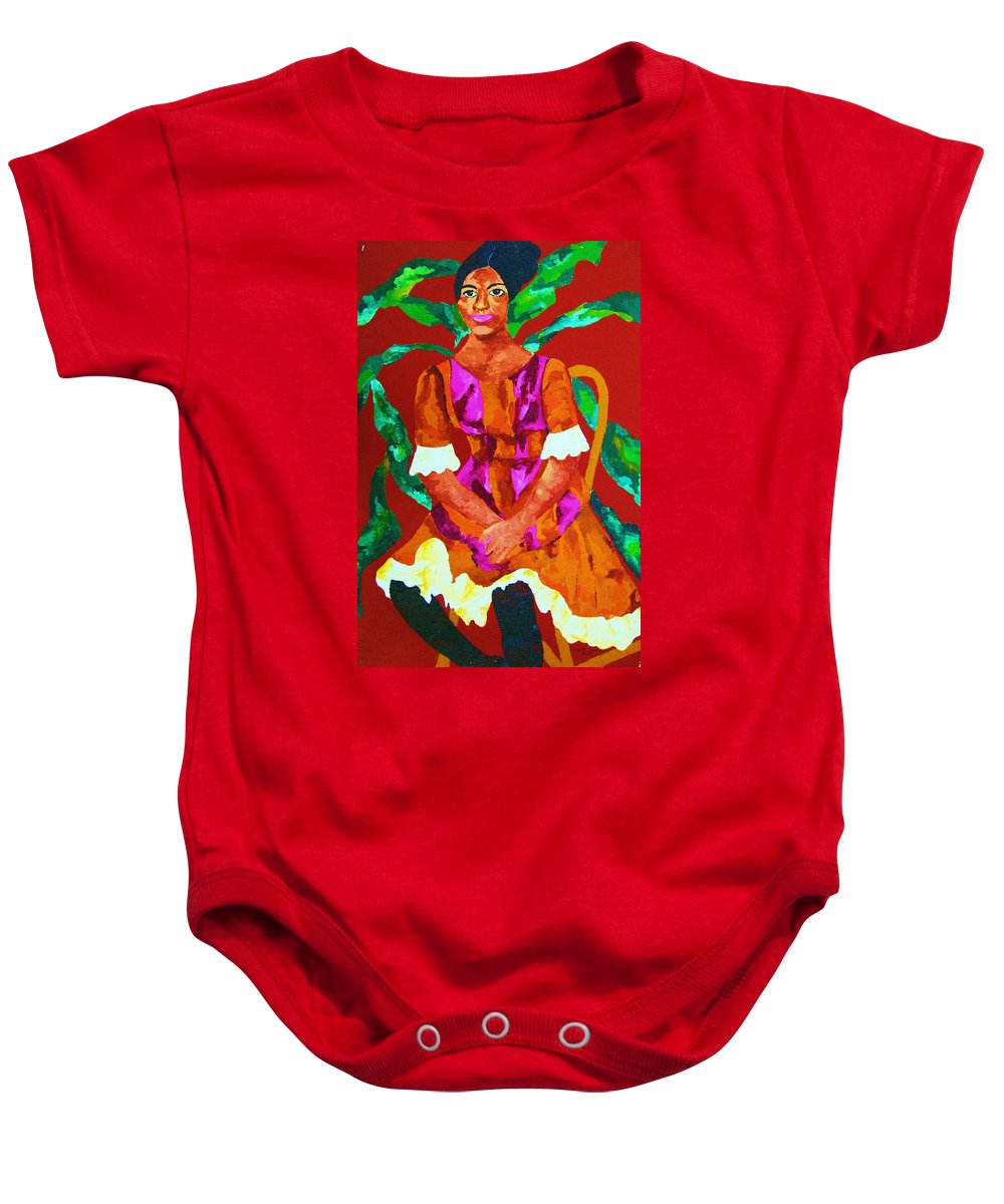 African Princess Baby Onesie featuring the painting African Princess by Carole Spandau
