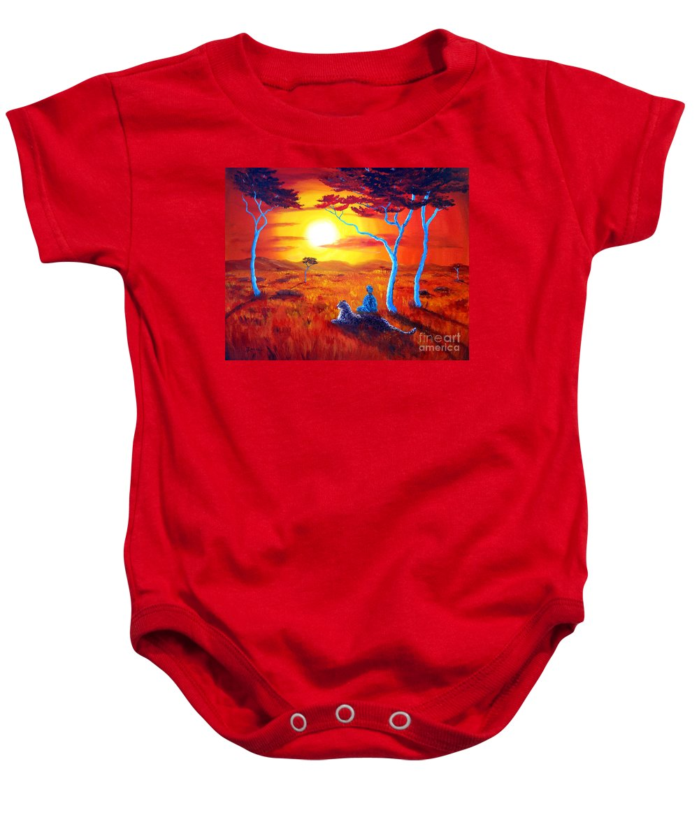 Painting Baby Onesie featuring the painting African Sunset Meditation by Laura Iverson