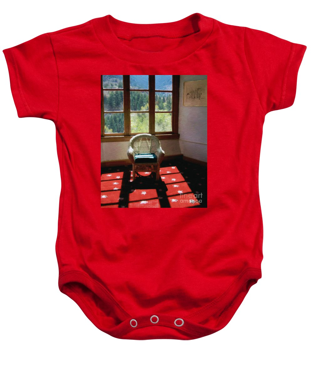Antiques Baby Onesie featuring the painting Afternoon In The Solarium by RC deWinter