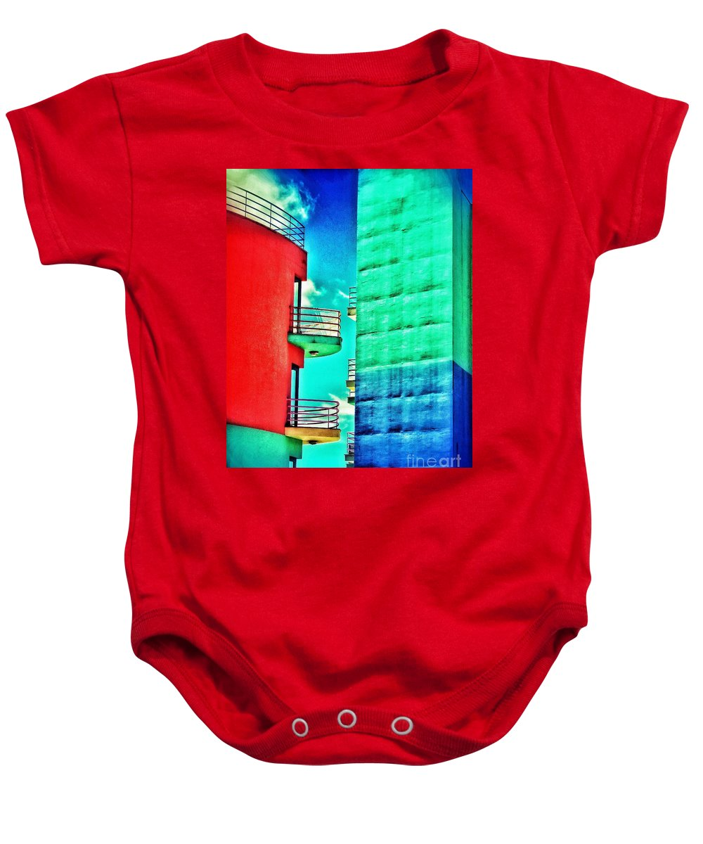 Albufeira Baby Onesie featuring the digital art Albufeira New Town 1 by Diana Rajala
