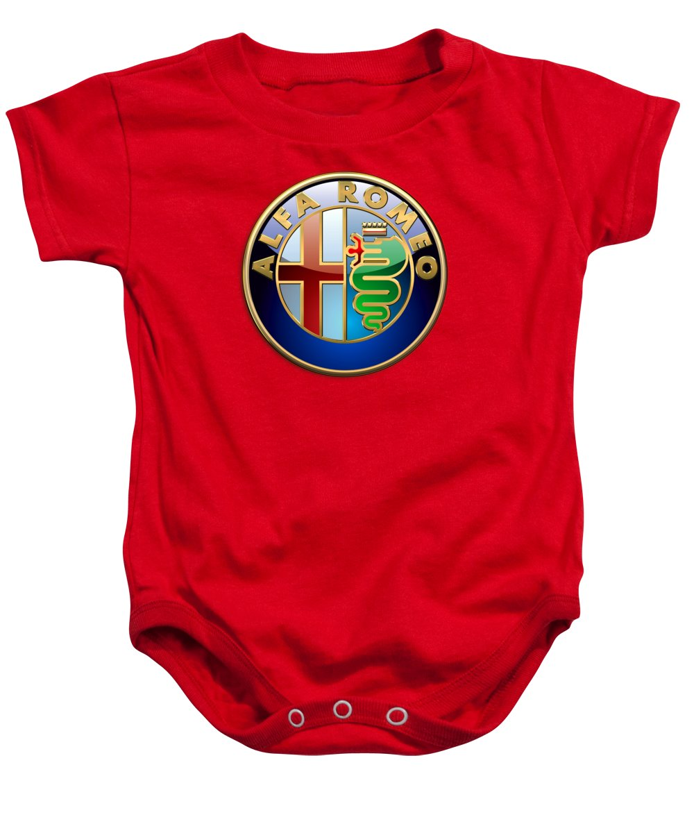 Wheels Of Fortune By Serge Averbukh Baby Onesie featuring the photograph Alfa Romeo - 3d Badge on Red by Serge Averbukh