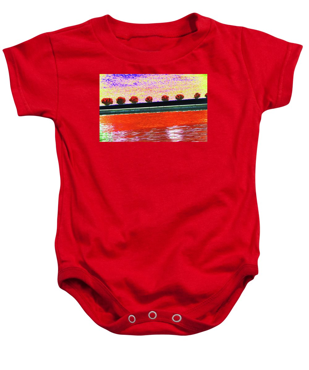 Abstract Baby Onesie featuring the photograph All In A Row by Lenore Senior