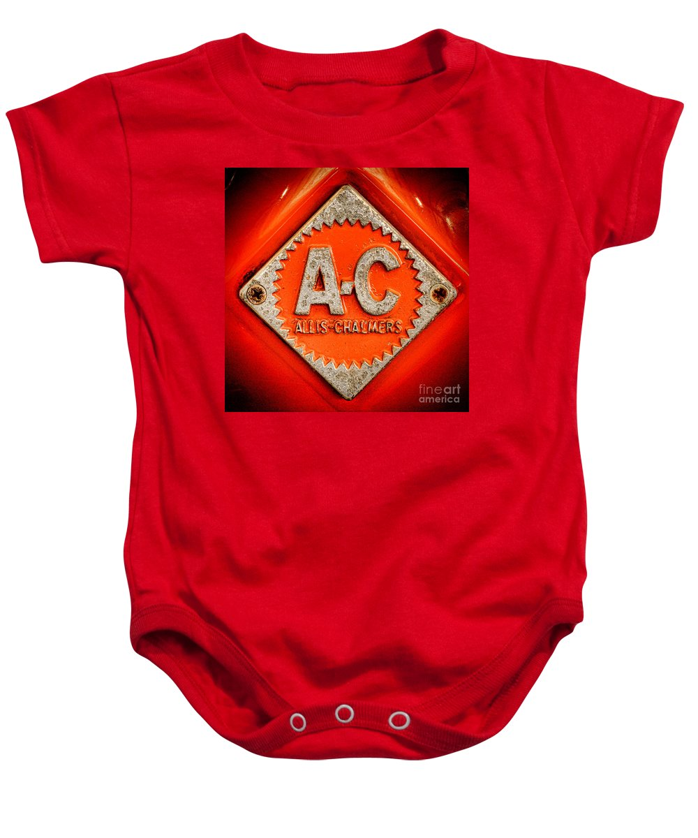 Allis Baby Onesie featuring the photograph Allis Chalmers Badge by Olivier Le Queinec