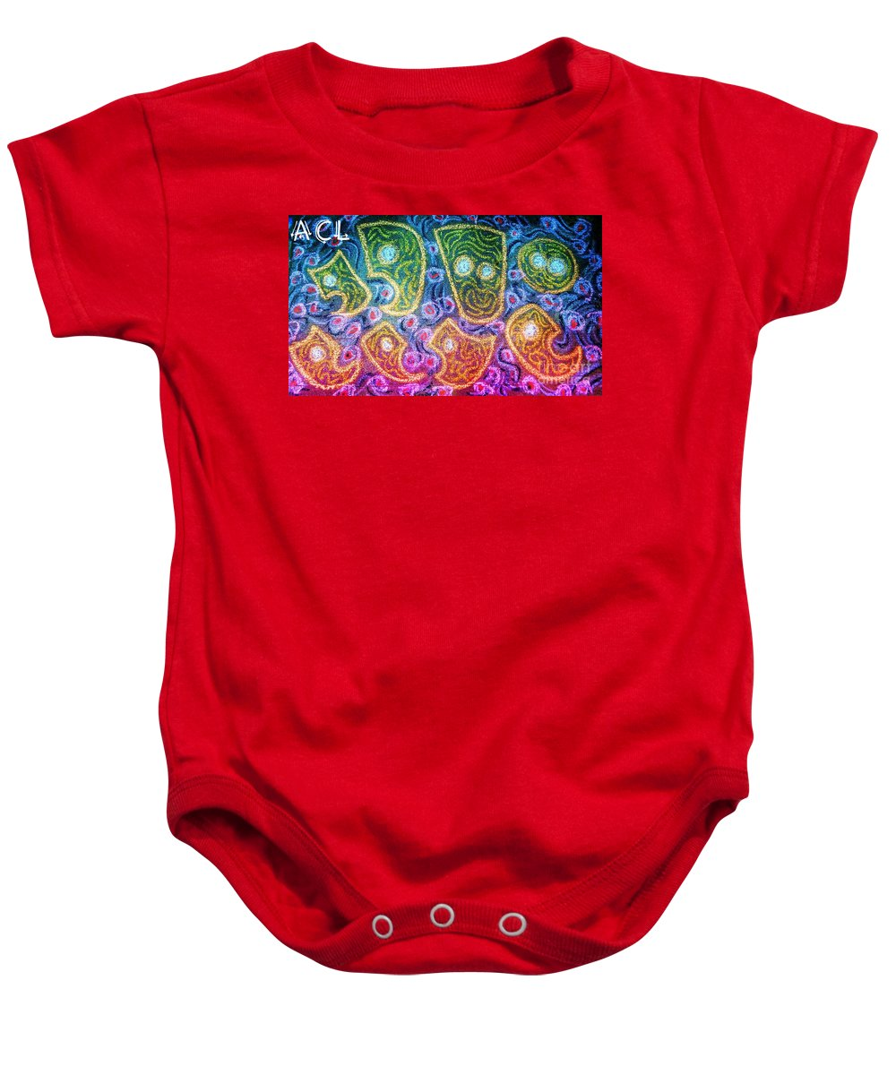 Tribal Baby Onesie featuring the mixed media Alternative Awareness by Alexander Ladd
