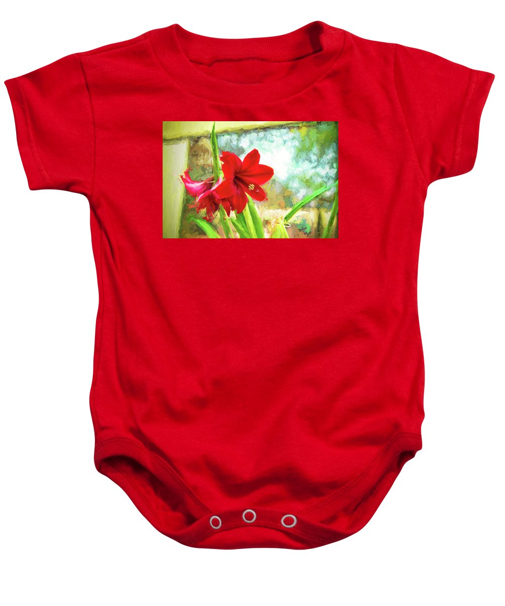 Amaryllis Baby Onesie featuring the photograph Amaryllis On The Porch by Kay Brewer