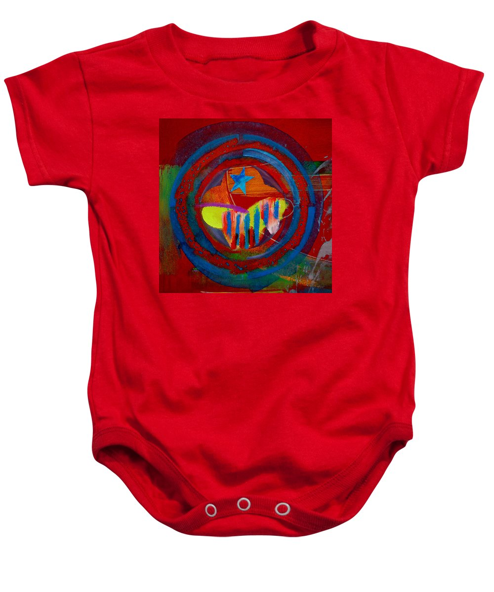Button Baby Onesie featuring the painting American Pastoral by Charles Stuart