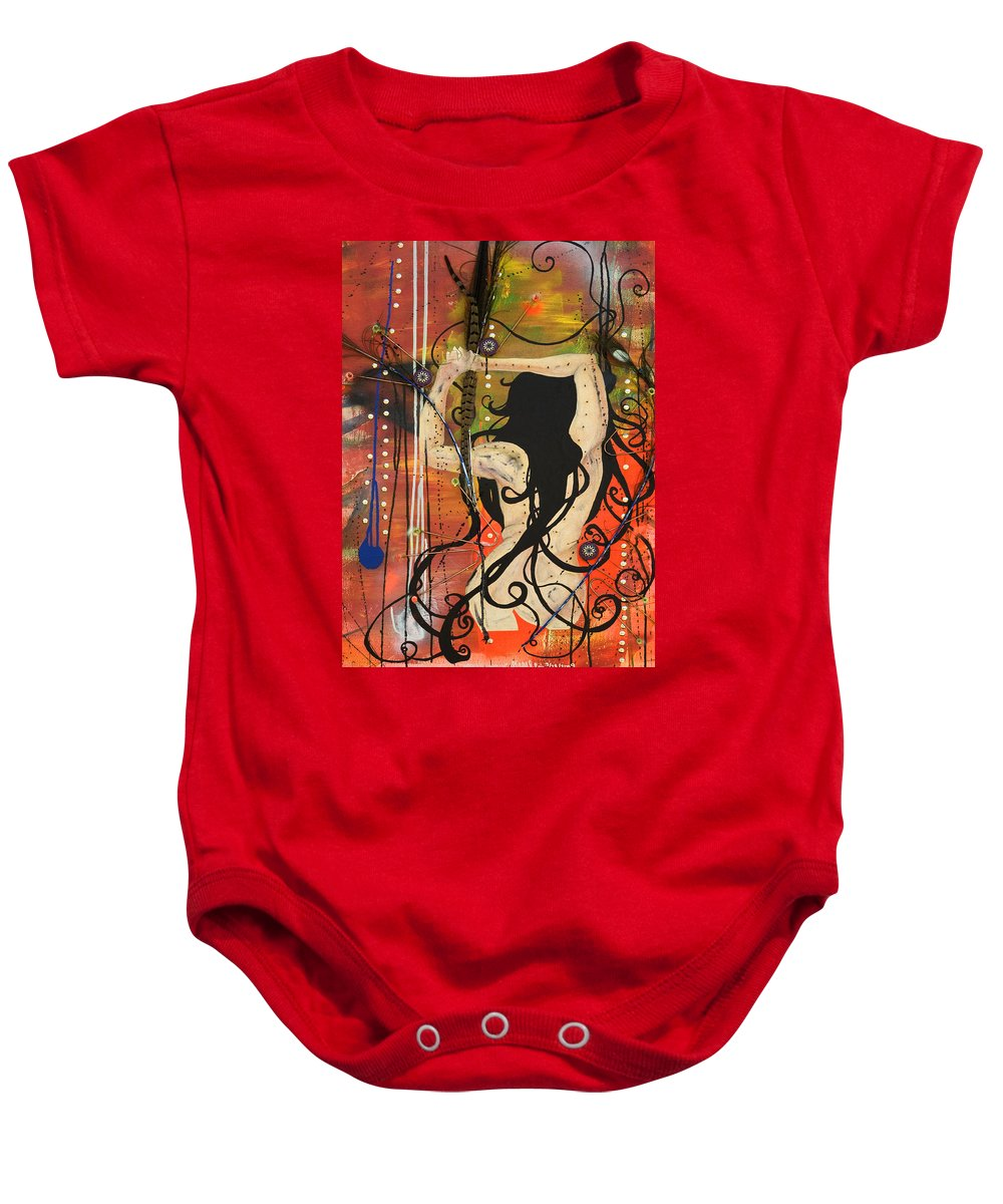 Woman Baby Onesie featuring the painting American Witch by Sheridan Furrer