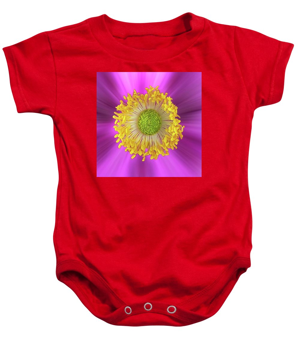 Beautiful Baby Onesie featuring the photograph Anemone Hupehensis 'hadspen by John Edwards