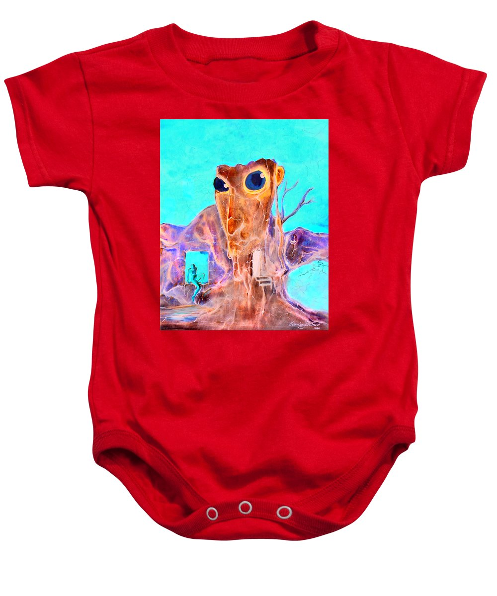 Surreal Color Eyes Structure Baby Onesie featuring the painting Another Few Seconds In My Head by Veronica Jackson