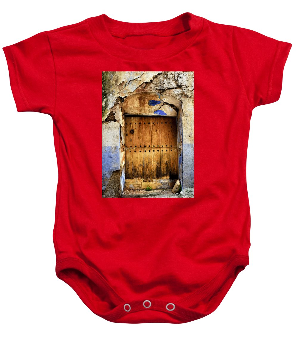 Brown Baby Onesie featuring the photograph Antique Brown Door by RicardMN Photography