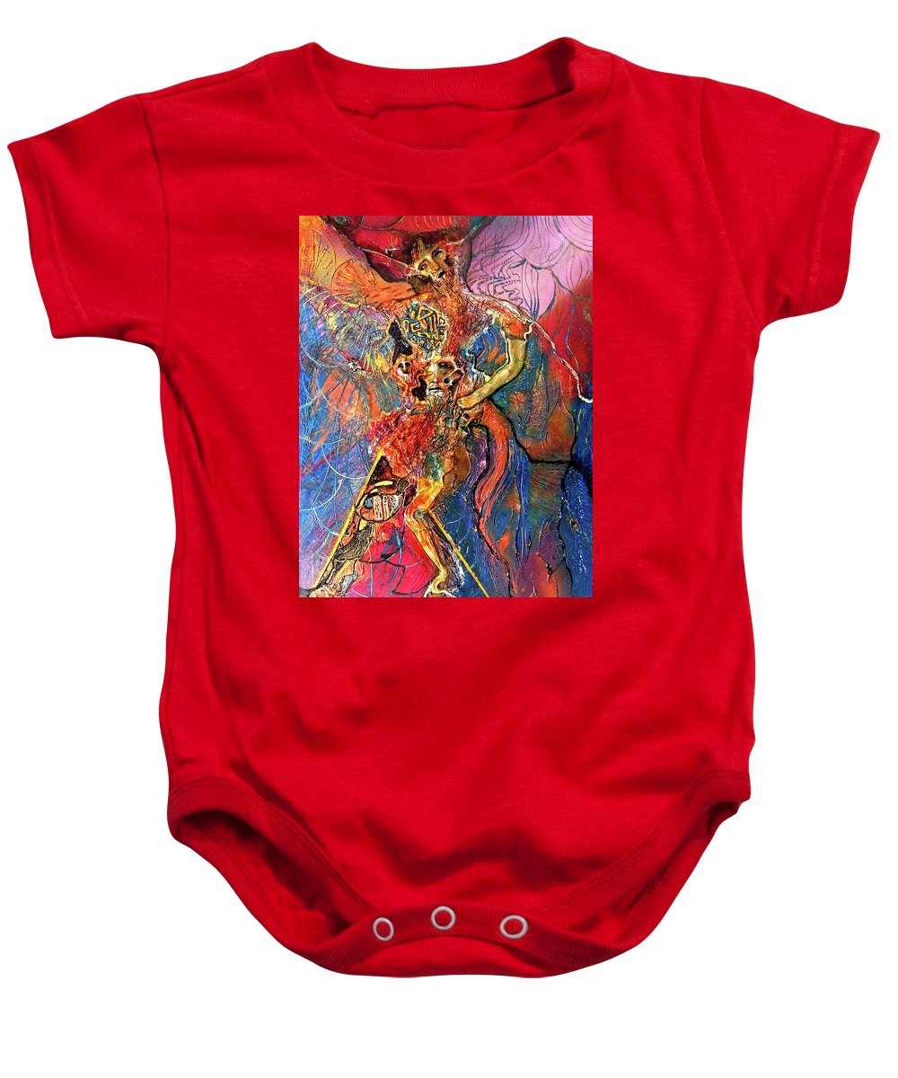 Cosmogony Baby Onesie featuring the painting Apache Cosmogony by Bob Money