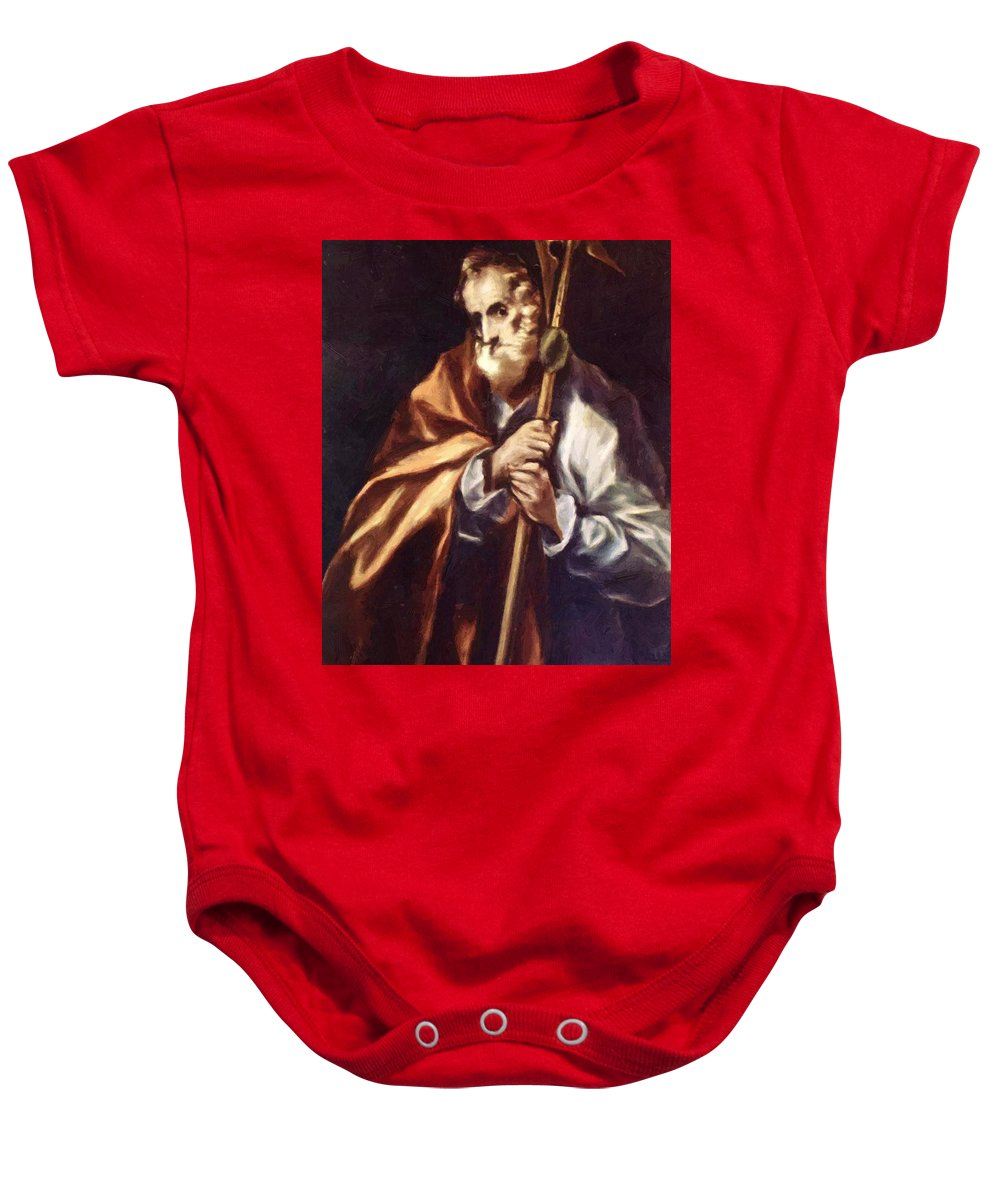 Apostle Baby Onesie featuring the painting Apostle St Thaddeus Jude by El Greco