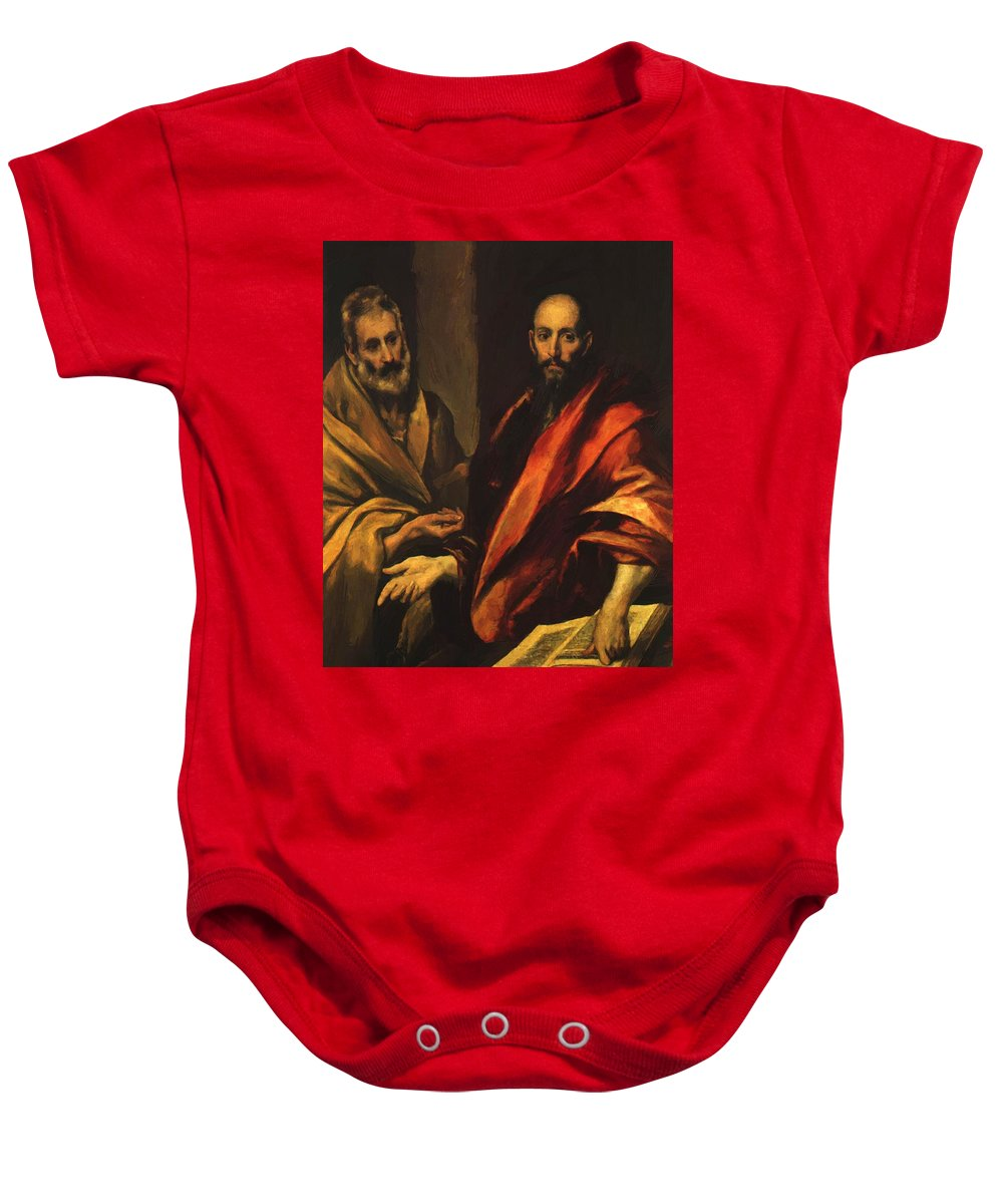 Apostles Baby Onesie featuring the painting Apostles Peter And Paul 1592 by El Greco