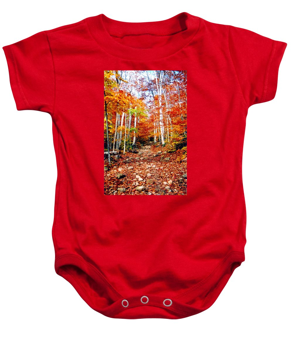 Orange Baby Onesie featuring the photograph Arethusa Falls Trail by Greg Fortier