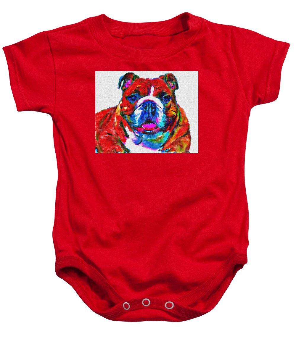 Art Dogportrait Baby Onesie featuring the painting Art Dogportrait by Sergey Gubinets