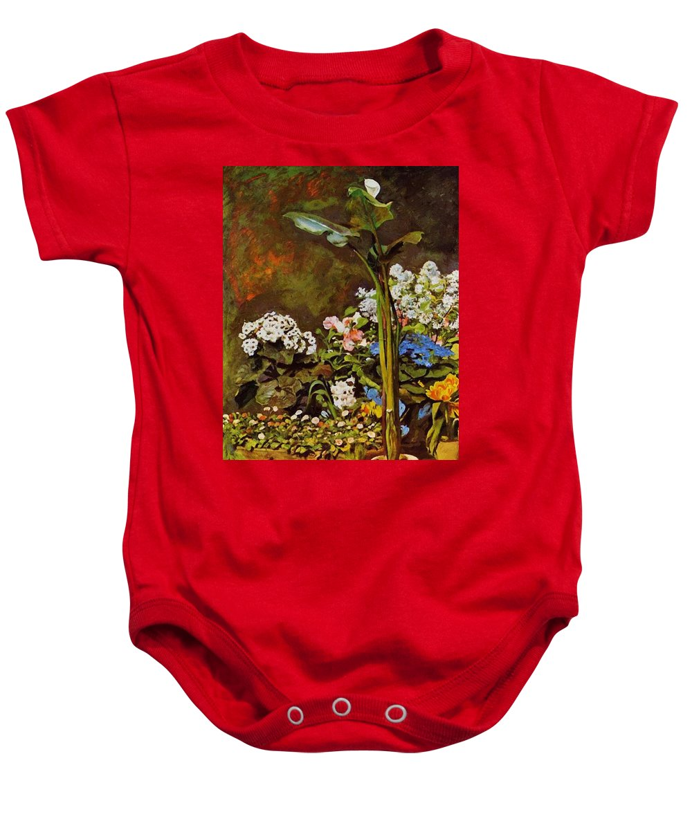 Arum Baby Onesie featuring the painting Arum And Conservatory Plants 1864 by Renoir PierreAuguste