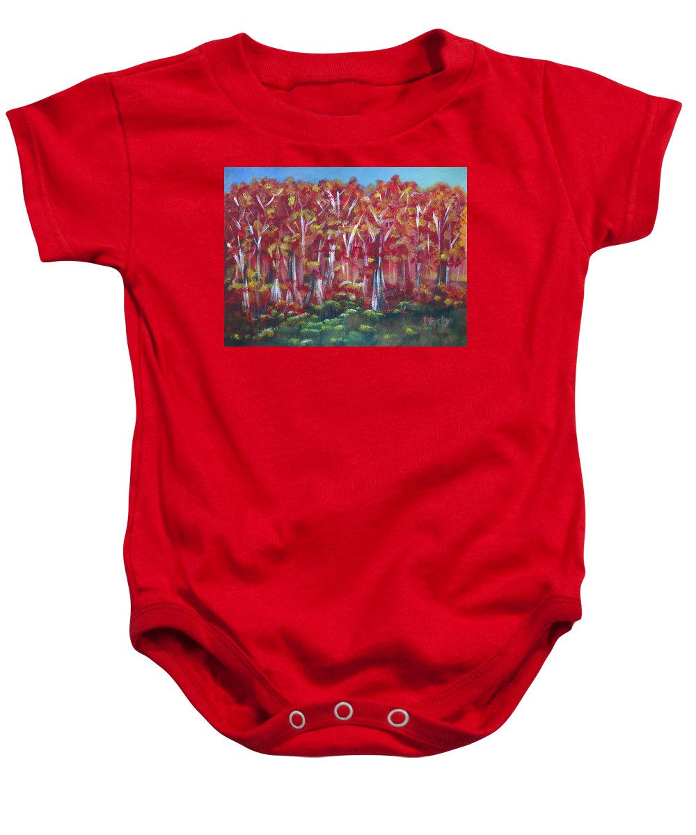 Fall Baby Onesie featuring the painting Aspen Fall by Donna Blackhall