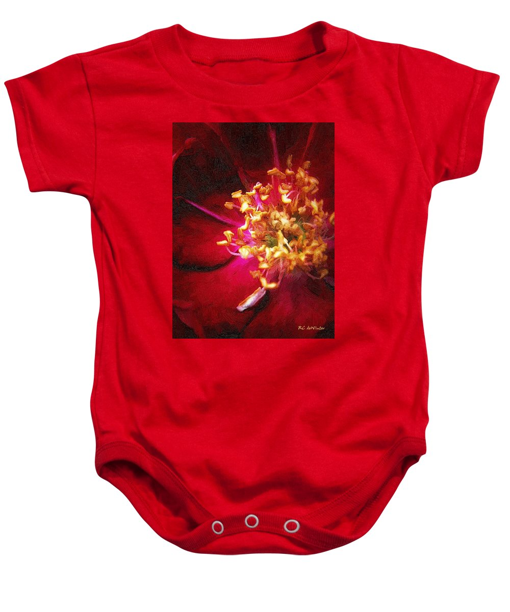 Flower Baby Onesie featuring the painting At The Heart Of It All by RC DeWinter
