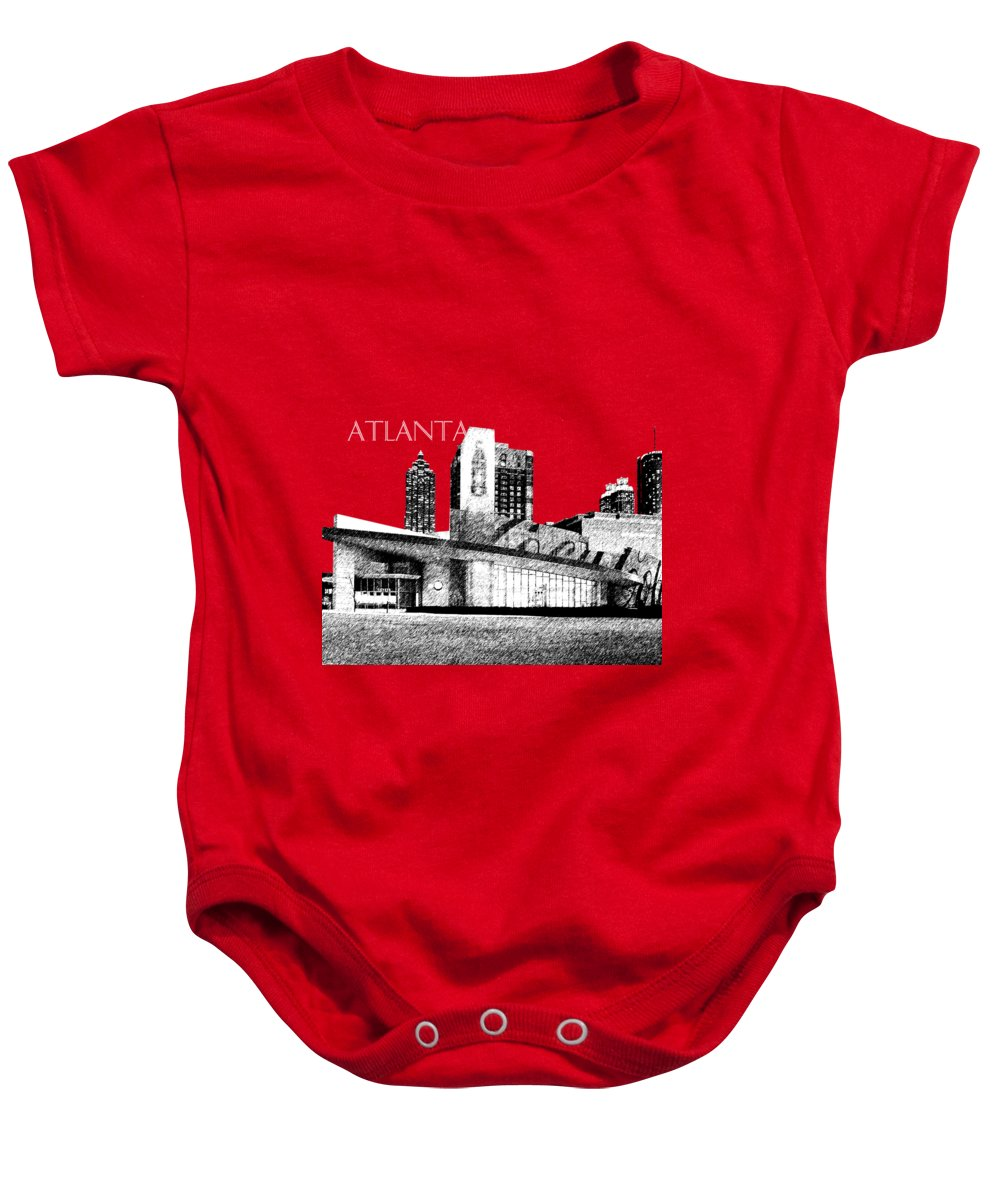 Architecture Baby Onesie featuring the digital art Atlanta World Of Coke Museum - Dark Red by DB Artist