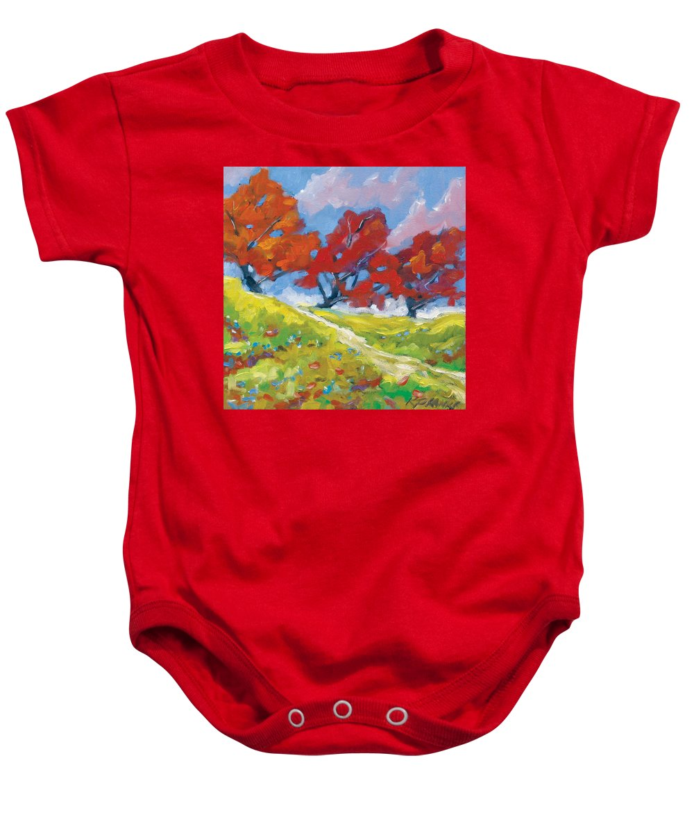 Art Baby Onesie featuring the painting Automn Trees by Richard T Pranke