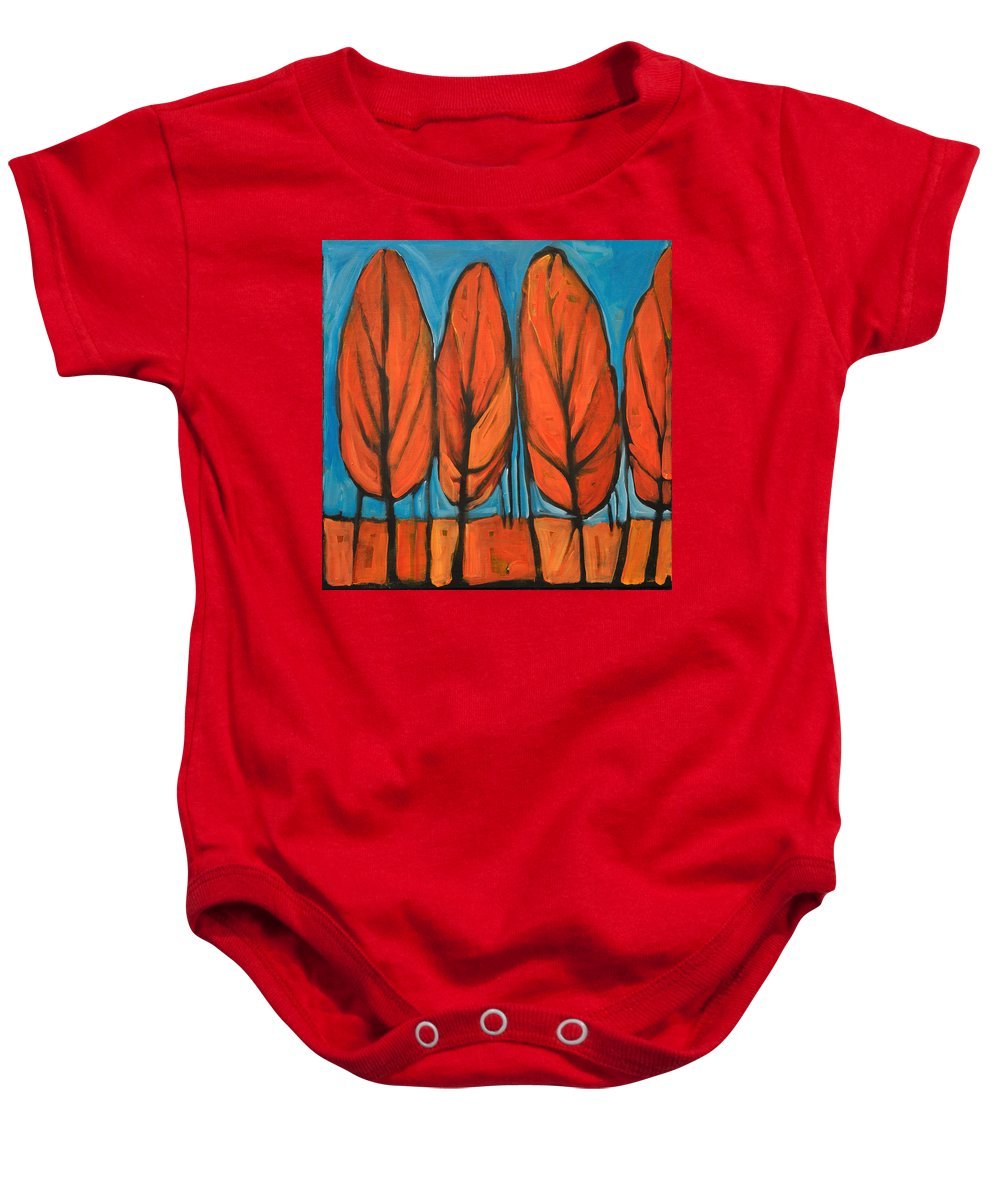 Fall Baby Onesie featuring the painting Autumn Dance by Tim Nyberg
