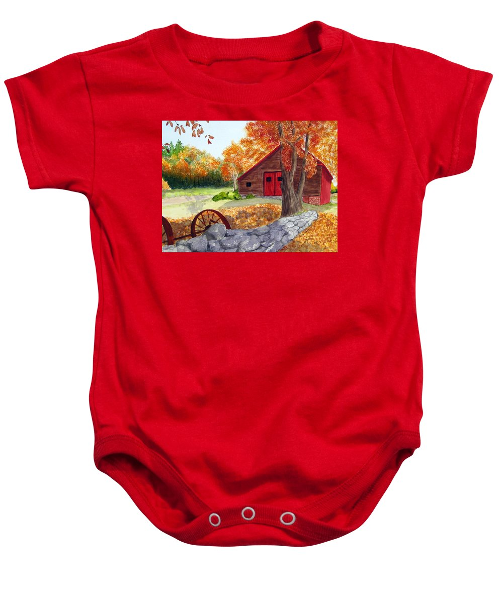Barn Baby Onesie featuring the painting Autumn Day by Julia RIETZ
