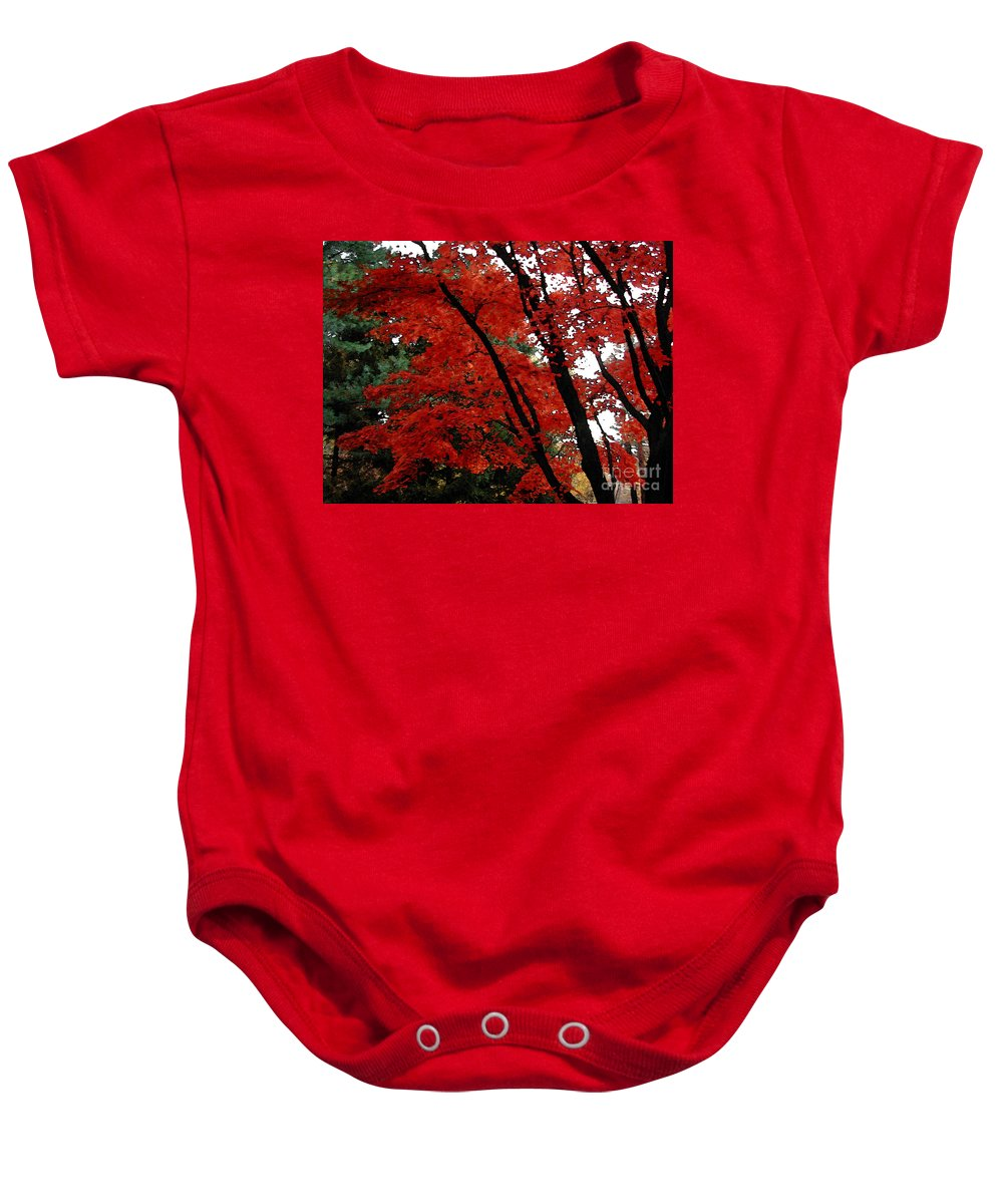 Autumn Baby Onesie featuring the photograph Autumn in New England by Melissa A Benson