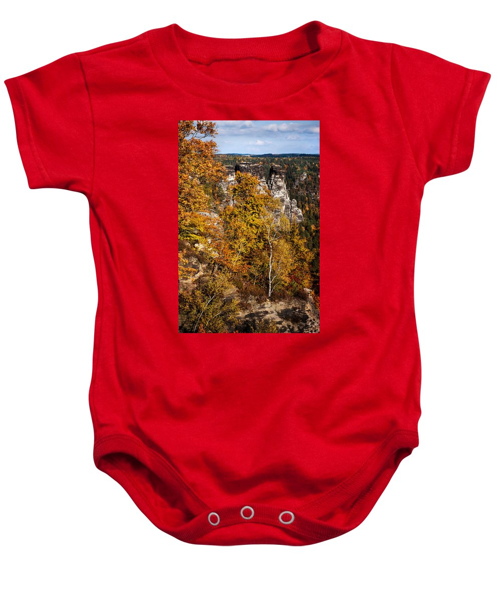 Saxon Switzerland Baby Onesie featuring the photograph Autumn In Saxon Switzerland by Jenny Rainbow