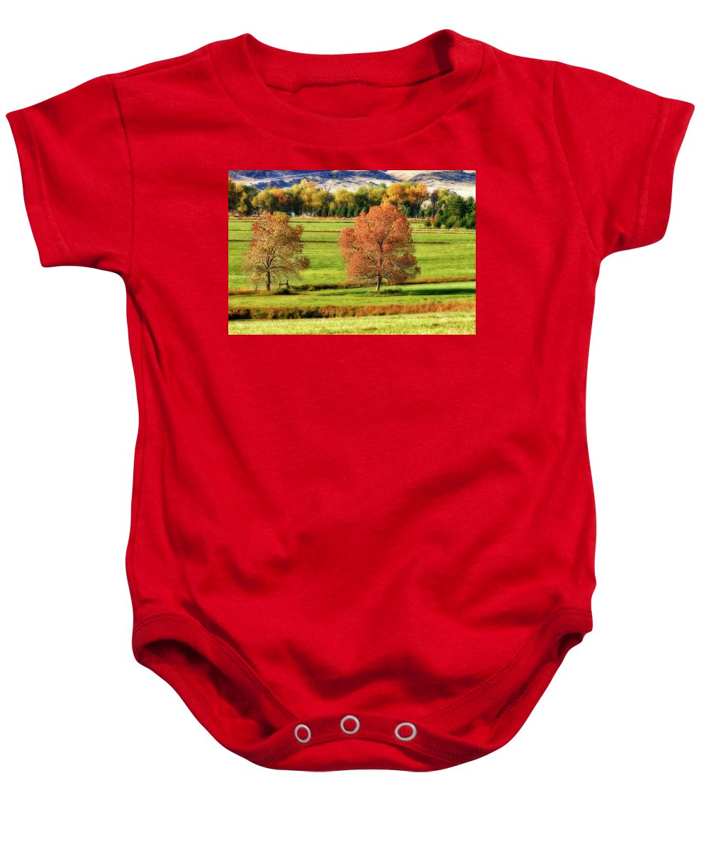 Autumn Baby Onesie featuring the photograph Autumn Landscape Dream by James BO Insogna
