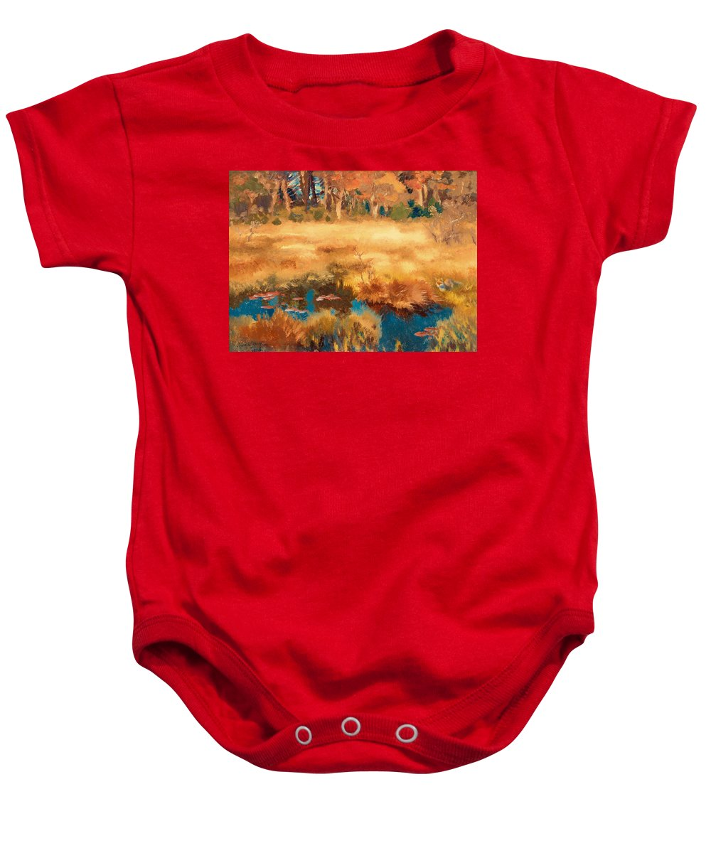 Painting Baby Onesie featuring the painting Autumn Landscape With Fox by Mountain Dreams