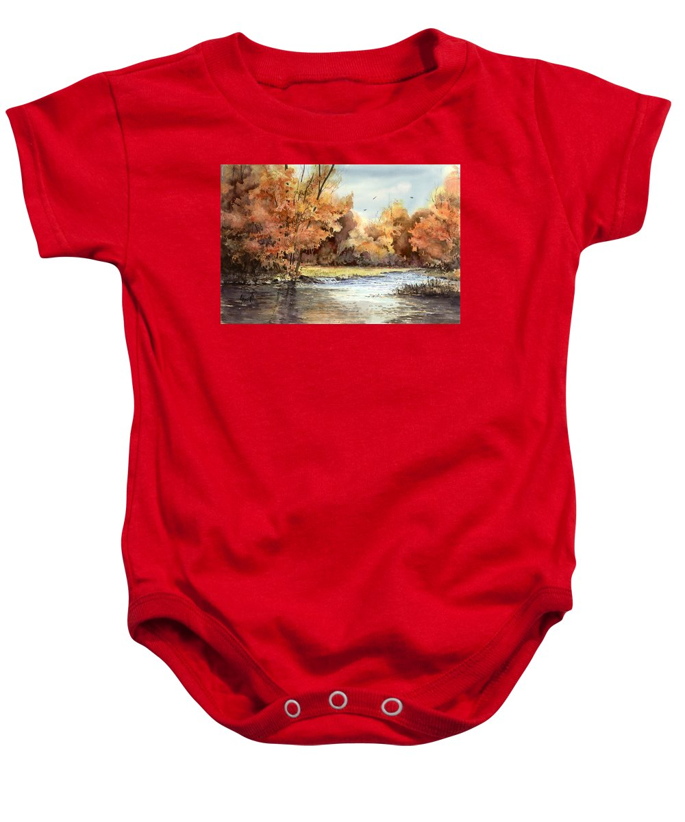 Autum Baby Onesie featuring the painting Autumn On The Buffalo by Sam Sidders