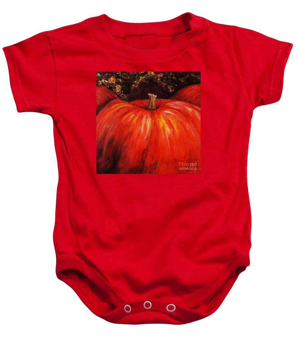 Orange Baby Onesie featuring the painting Autumn Pumpkins by Nadine Rippelmeyer