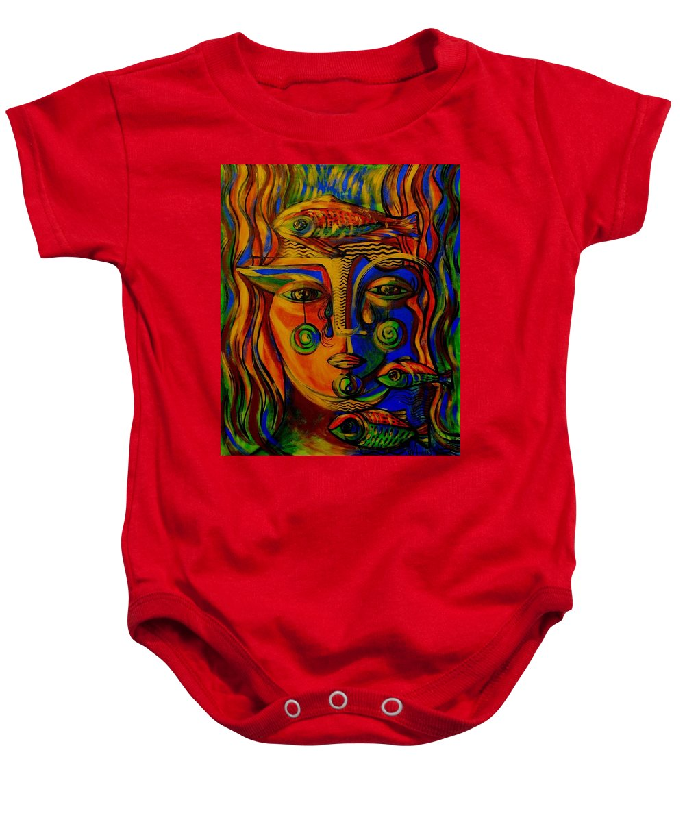 Inga Vereshchagina Baby Onesie featuring the painting Autumn Tears by Inga Vereshchagina