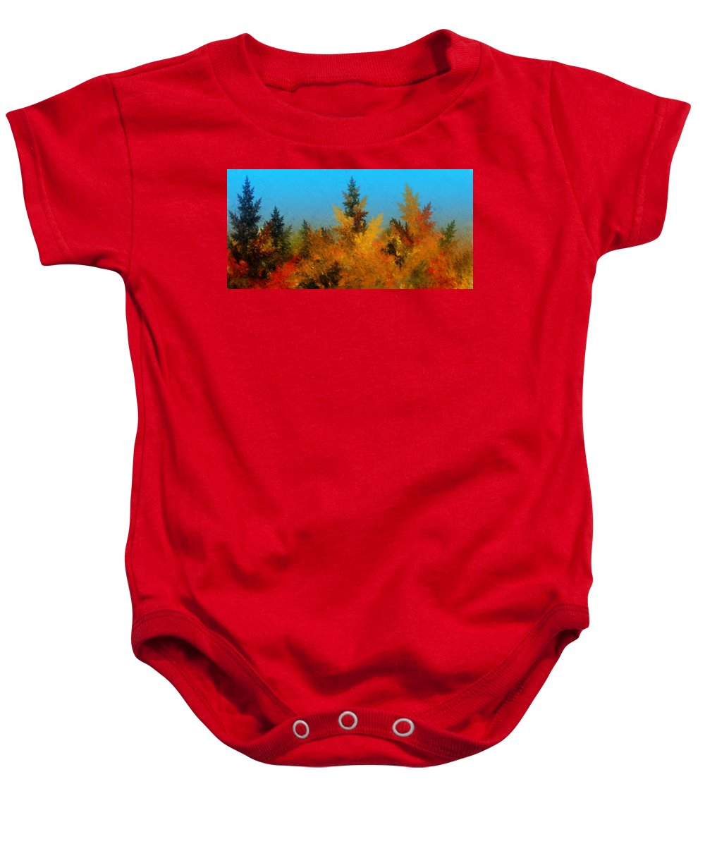 Abstract Digital Painting Baby Onesie featuring the digital art Autumnal Forest by David Lane