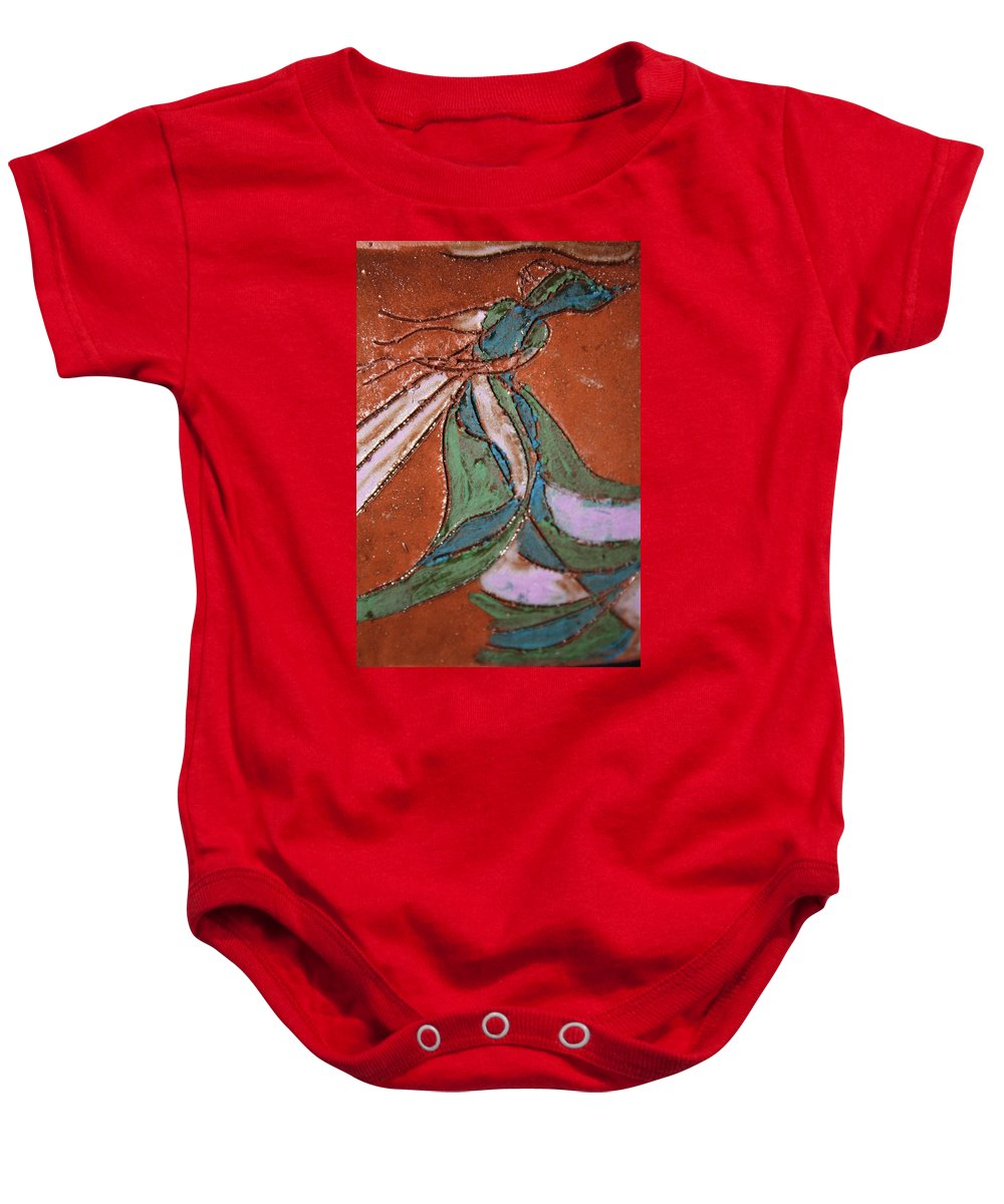 Gloria Ssali Baby Onesie featuring the painting Awake Tile by Gloria Ssali