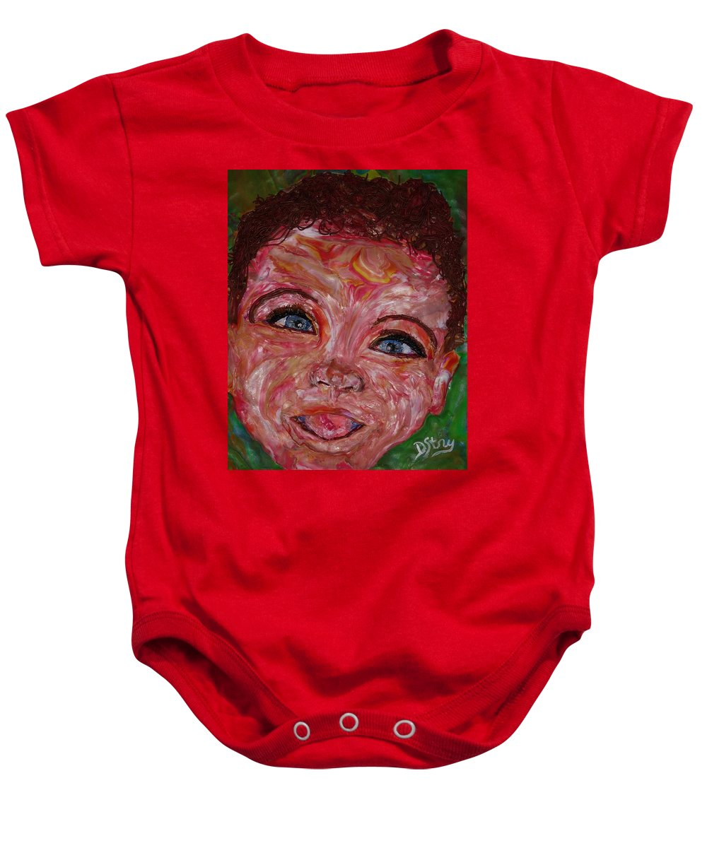 Polymer Clay Baby Onesie featuring the mixed media Azuriah by Deborah Stanley