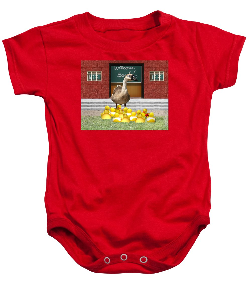 Back To School Baby Onesie featuring the photograph Back To School Little Duckies by Gravityx9 Designs