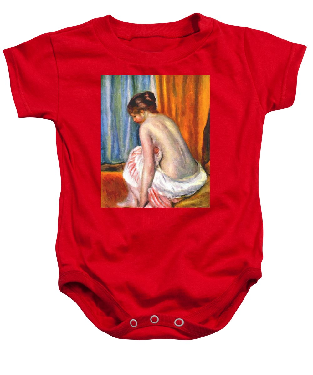Back Baby Onesie featuring the painting Back View Of A Bather 1893 by Renoir PierreAuguste