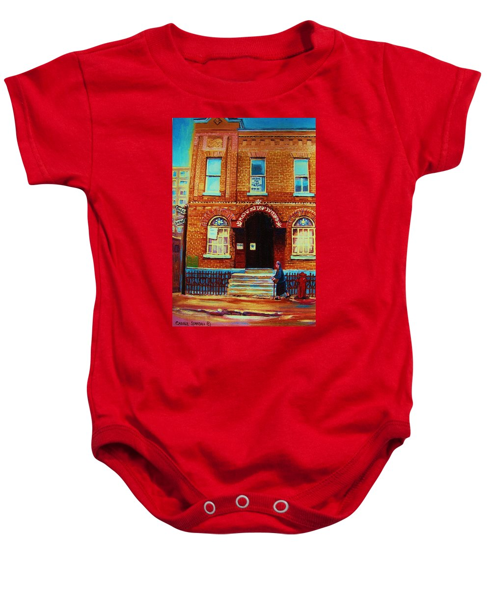 Judaica Baby Onesie featuring the painting Bagg Street Synagogue by Carole Spandau
