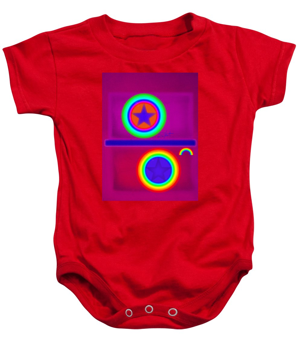 Balance Baby Onesie featuring the painting Balance Of Power by Charles Stuart
