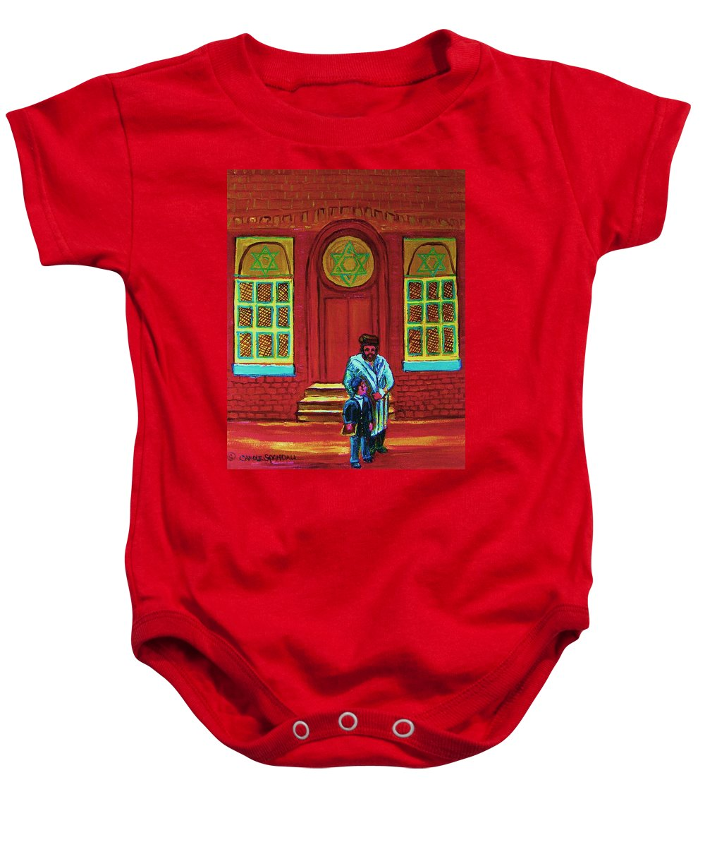 Synagogues Baby Onesie featuring the painting Bar Mitzvah Lesson At The Synagogue by Carole Spandau