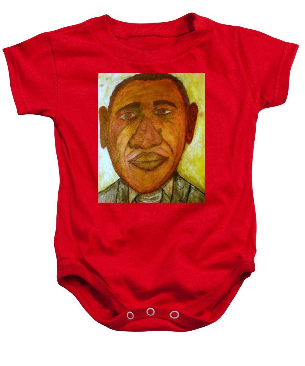 Barack Baby Onesie featuring the painting Barack In Recession by Philip Okoro