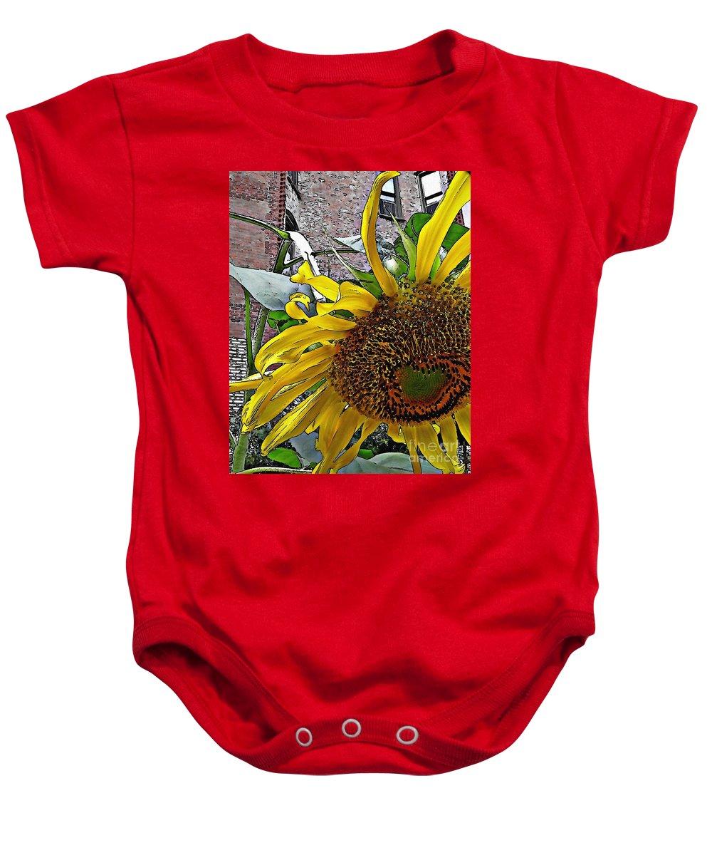 Sunflower Baby Onesie featuring the photograph Barrio Sunflower 3 by Sarah Loft