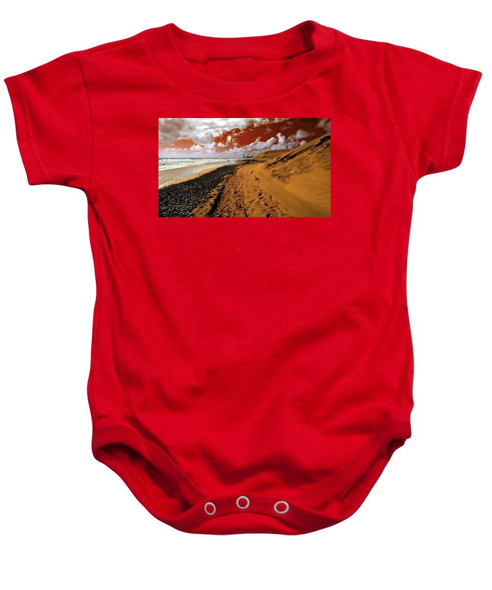 Red Baby Onesie featuring the photograph Beach Under A Blood Red Sky by Rob Hawkins