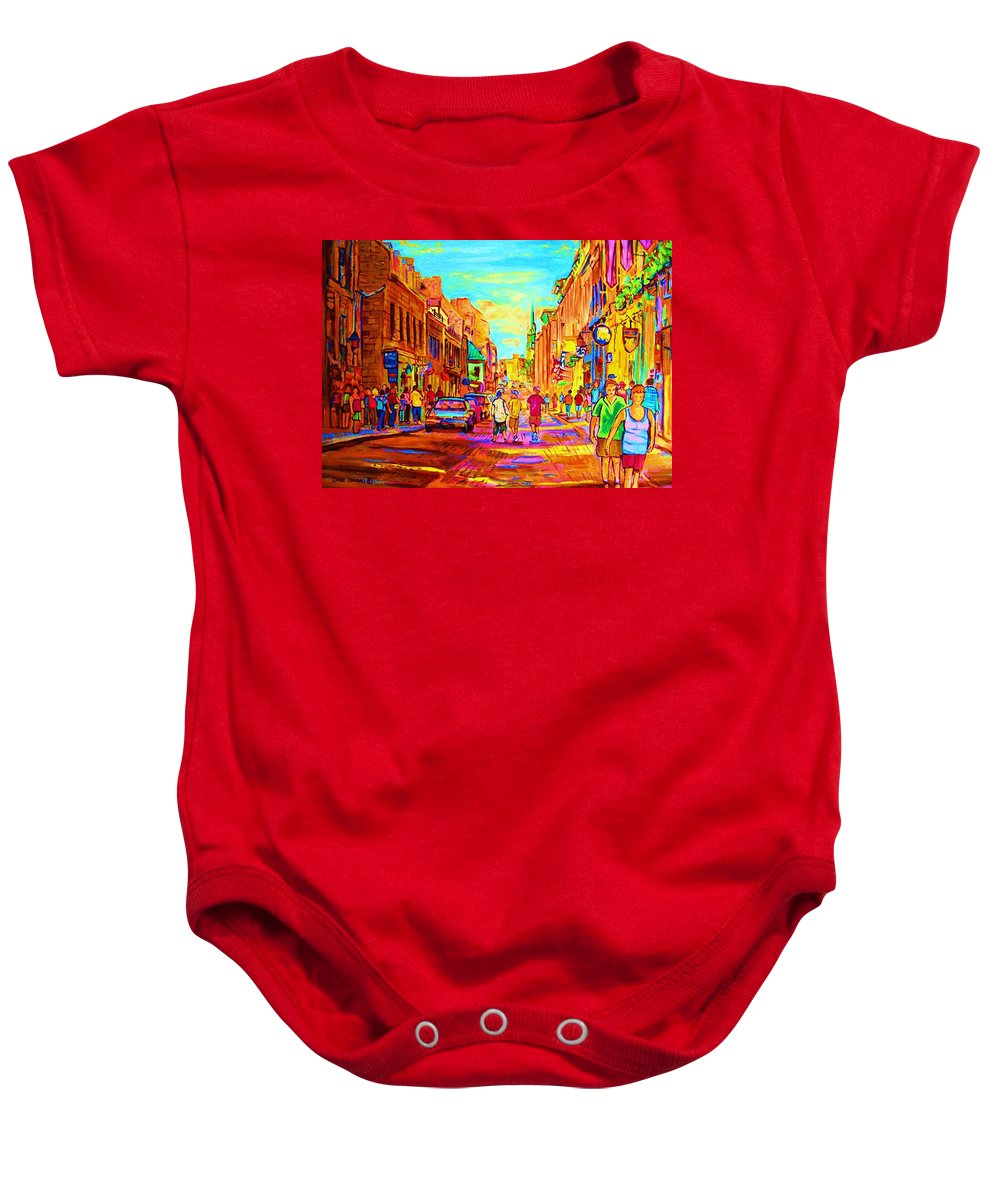 Old Montreal Baby Onesie featuring the painting Beautiful Day In The City by Carole Spandau