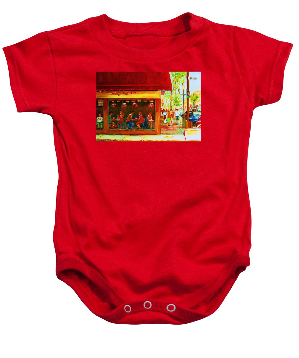 Beautys Cafe Abd Luncheonette Baby Onesie featuring the painting Beautys Cafe With Red Awning by Carole Spandau