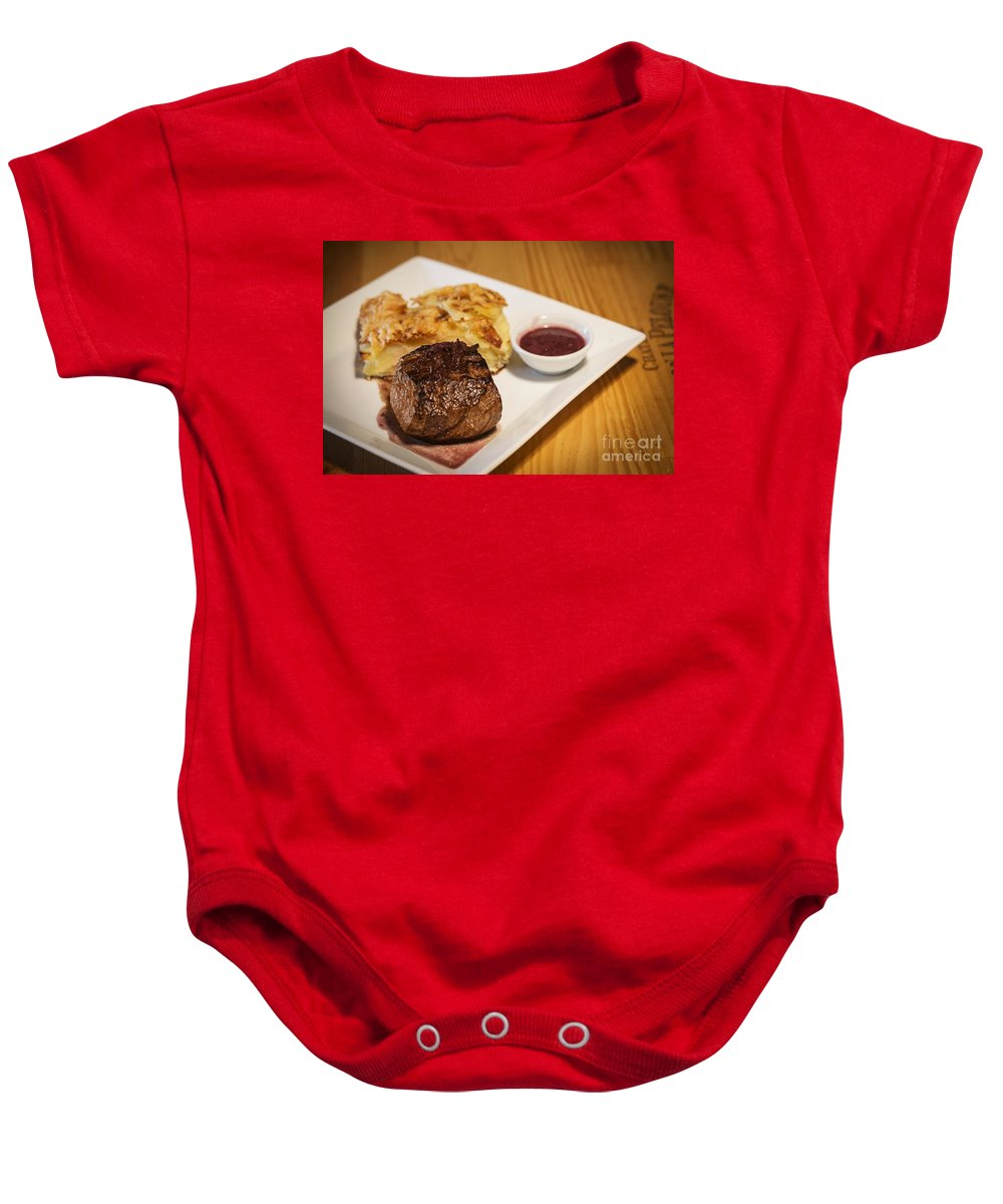 Basic Baby Onesie featuring the photograph Beef Steak With Potato And Cheese Bake by Jacek Malipan