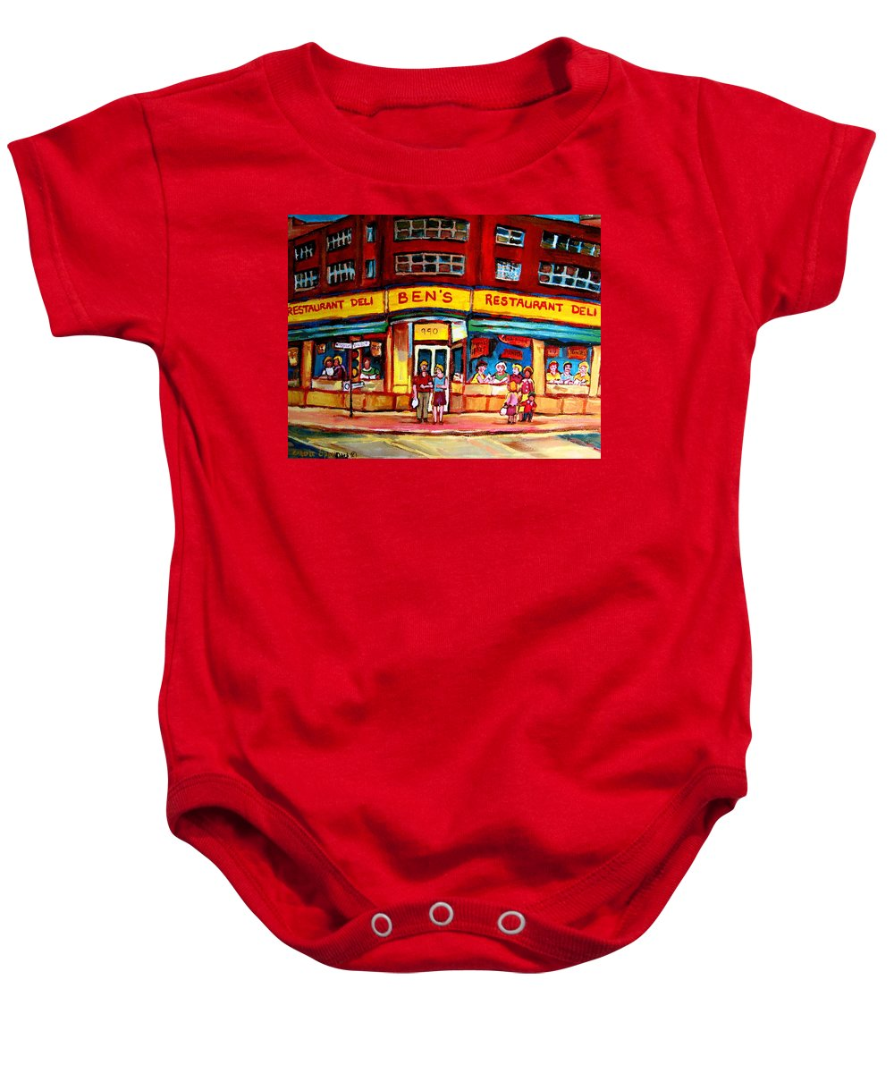 Bens Famous Restaurant Baby Onesie featuring the painting Ben's Delicatessen - Montreal Memories - Montreal Landmarks - Montreal City Scene - Paintings by Carole Spandau