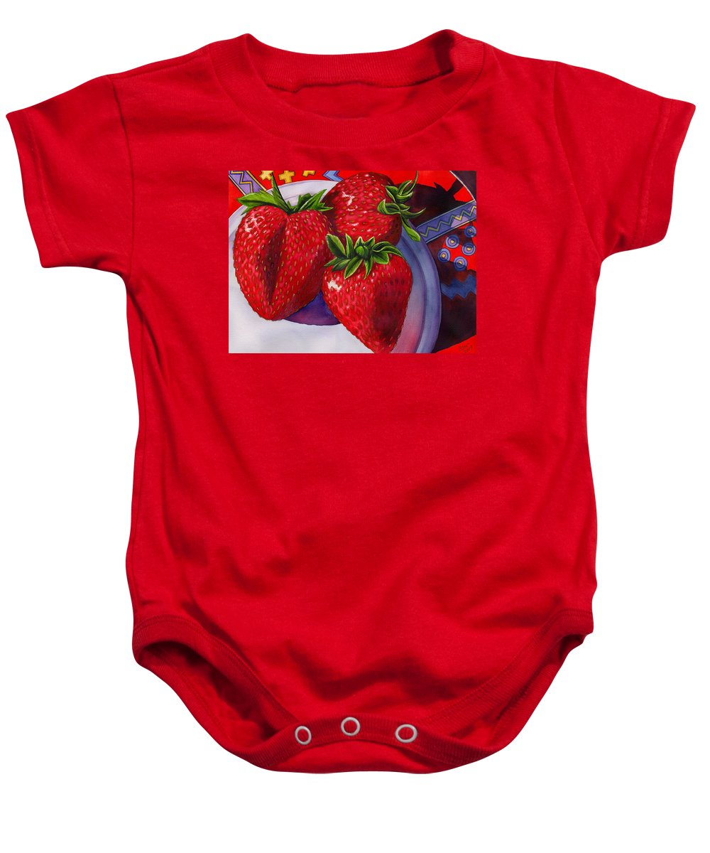 Strawberries Baby Onesie featuring the painting Berry Berry Berry Good by Catherine G McElroy